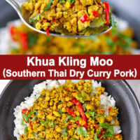 """Spoon holding up a bite of ground pork stir-fry with rice and top view of bowl with pork and rice. Text overlay """"Khua Kling Moo (Southern Thai Dry Curry Pork)""""."""