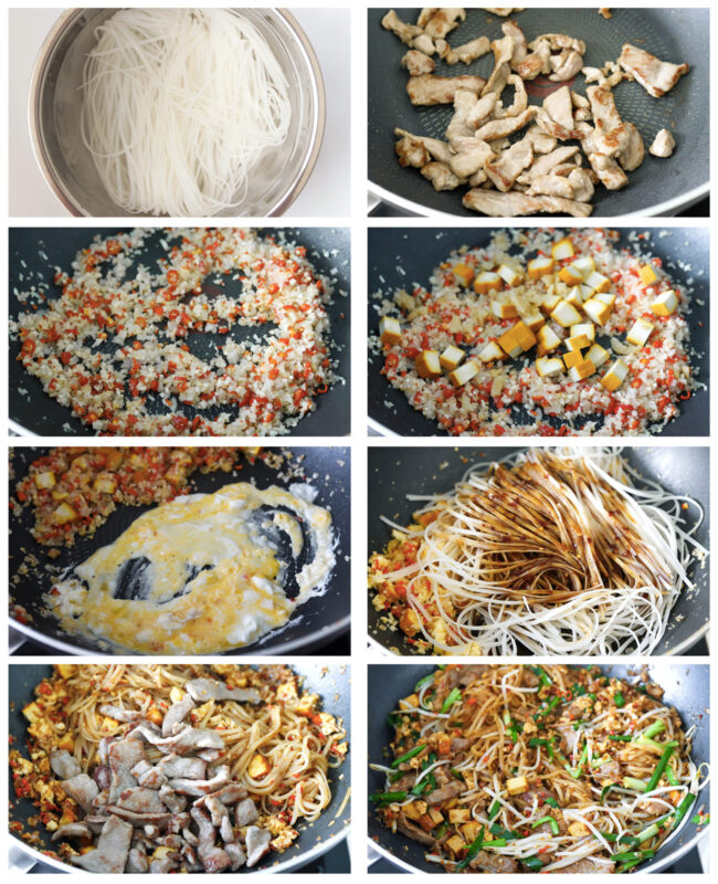 Photo collage of steps to make Spicy Pork Pad Thai.
