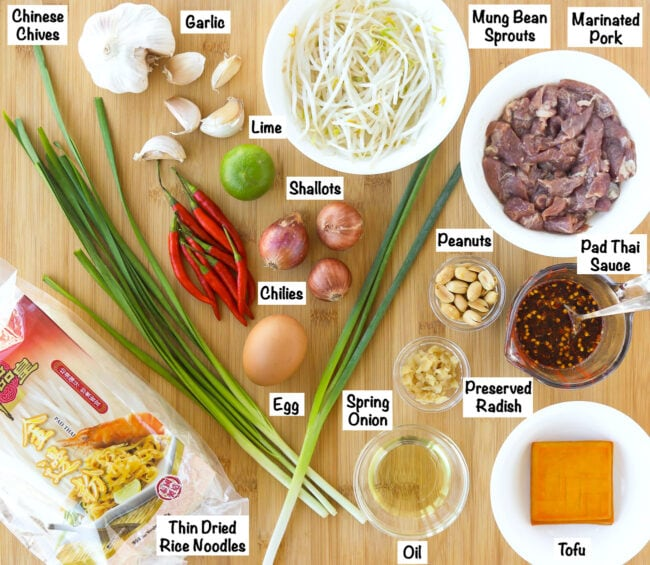 Labeled photo of ingredients for Spicy Pork Pad Thai.