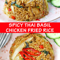 """Front and top view of fried rice and cucumber slices on pink plate. Text overlay """"Spicy Thai Basil Chicken Fried Rice""""."""