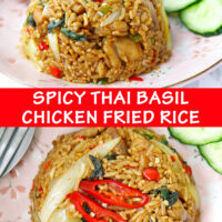 """Close up front and top view of fried rice and cucumber slices on pink plate. Text overlay """"Spicy Thai Basil Chicken Fried Rice""""."""