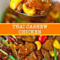 """Spoon with chicken, bell pepper, and cashew nut, and close up of stir-fry. Text overlay """"Thai Cashew Chicken""""."""