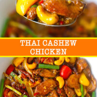 """Spoon with chicken, bell pepper, and cashew nut, and stir-fry chicken with cashews in a bowl. Text overlay """"Thai Cashew Chicken""""."""