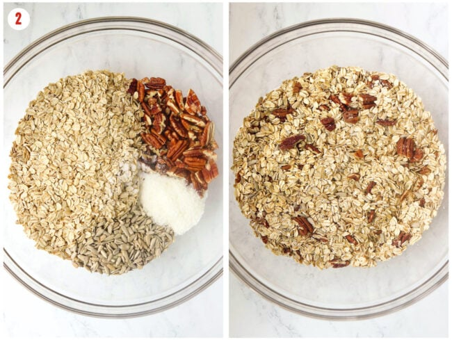 Collage of steps to combine dry ingredients for granola.