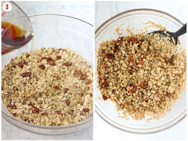 Collage of combining wet with dry ingredients for granola.
