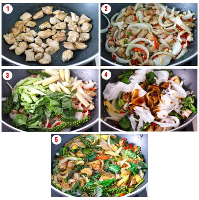 Process steps collage to make Pad Kee Mao Gai.