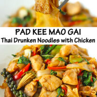 """Fork holding up chicken piece and noodle, and front view of plate with stir-fried rice noodles dish. Text overlay """"Pad Kee Mao Gai Thai Drunken Noodles with Chicken""""."""