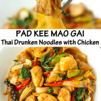 """Fork holding up chicken piece and rice noodles, and plate with stir-fried rice noodles dish. Text overlay """"Pad Kee Mao Gai Thai Drunken Noodles with Chicken""""."""
