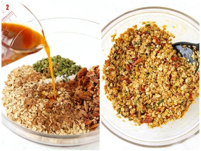 Collage of combining wet with dry ingredients for pumpkin granola.