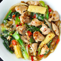 """Top view of fresh flat wide rice noodles dish with chicken, veggies, and gravy on plate. Text overlay """"Rad Na Gai (Thai Gravy Noodles with Chicken)"""""""