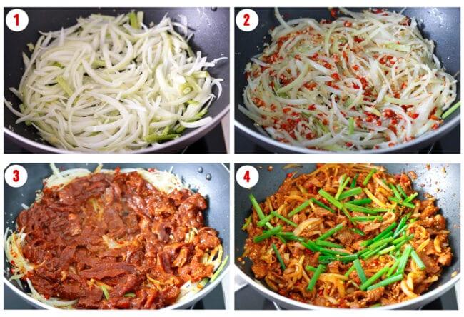 Process steps to make Spicy Korean Pork Stir-fry.
