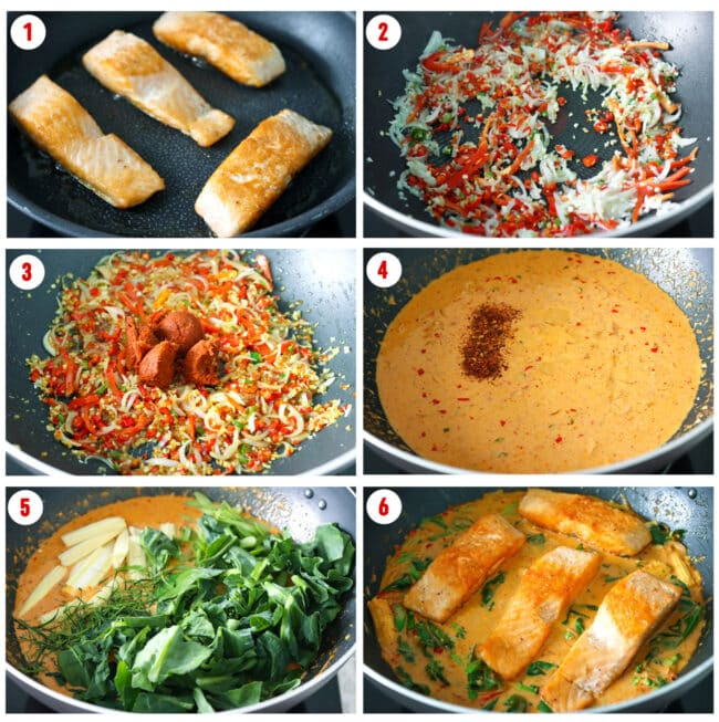 Process steps to make Choo Chee Salmon Curry.