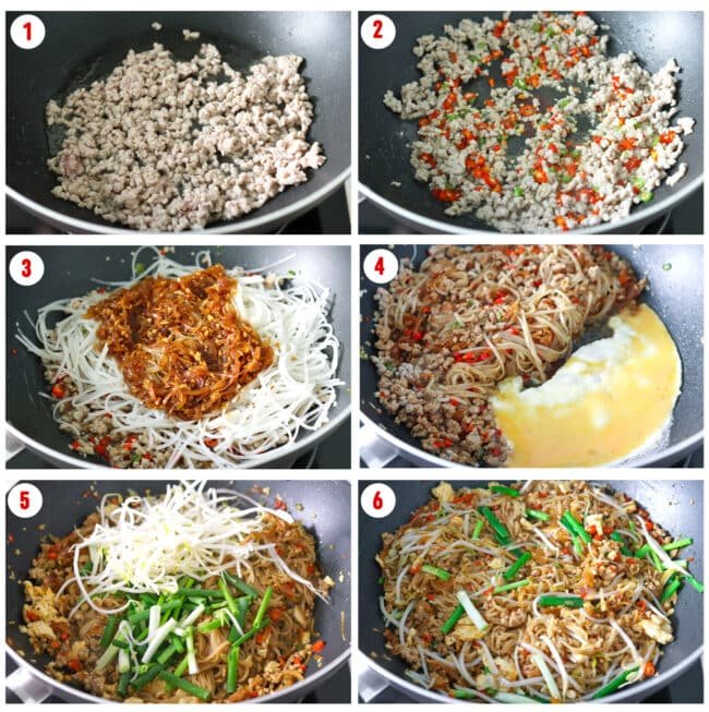 Process steps to make Pad Mee Korat.