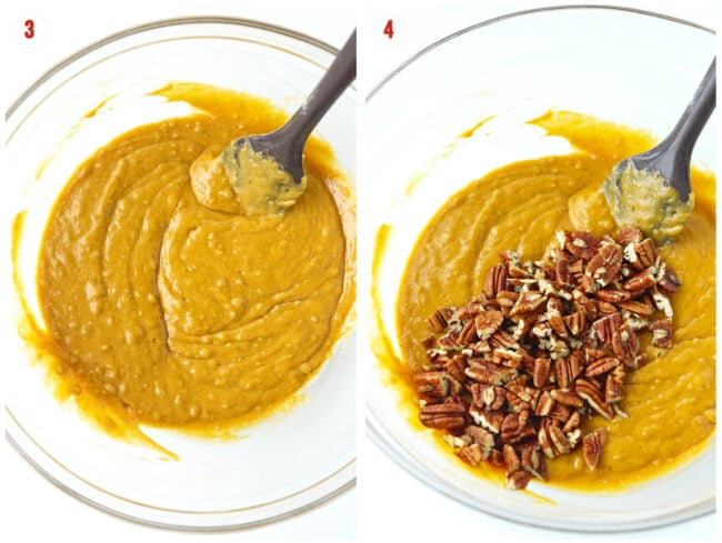 Photo collage: Batter in bowl with rubber spatula, and batter in bowl topped with chopped pecans and rubber spatula.