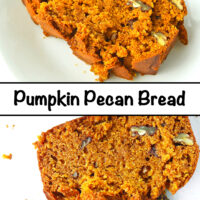 """Slice of bread on a plate and top close up view of two slices of bread on parchment paper. Text overlay """"Pumpkin Pecan Bread""""."""
