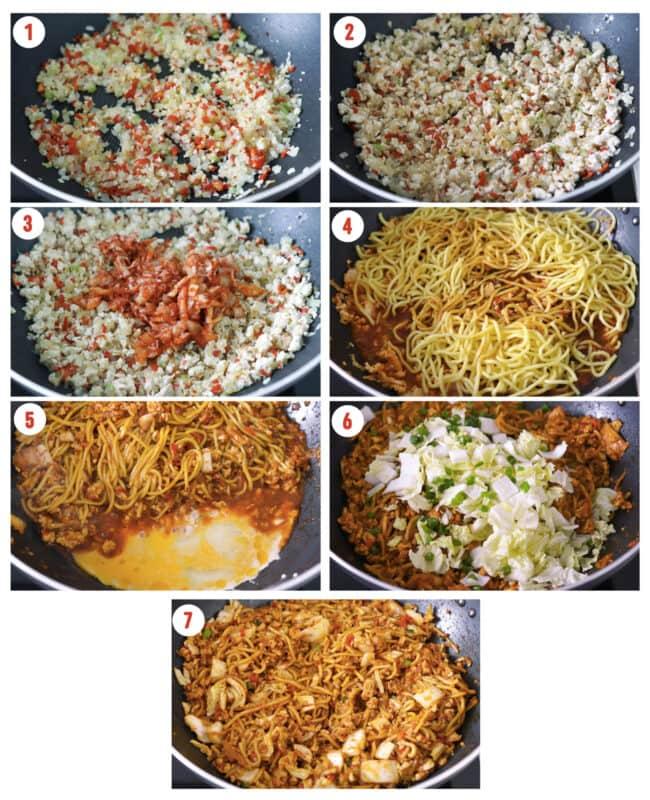 Process steps to make Stir-fried Kimchi Chicken Noodles.
