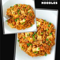 """Collage with two photos of stir-fried Korean noodles dish on a plate. Text overlay """"Stir-fried Kimchi Chicken Noodles"""" and """"thatspicychick.com""""."""