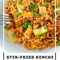 """Front side view of plate with noodles stir-fry and a fork. Text overlay """"Stir-fried Kimchi Chicken Noodles"""" and """"thatspicychick.com""""."""