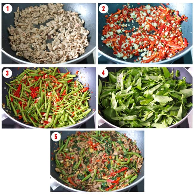 Process steps to make Taiwanese Lamb and Water Spinach Stir-fry.