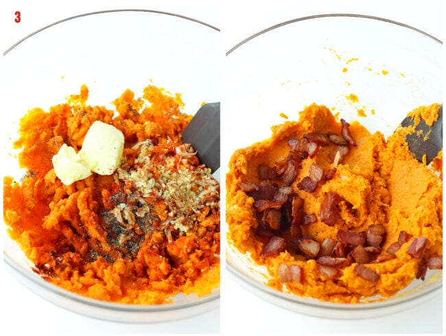 Adding butter, seasonings, aromatics, and bacon to bowl with sweet potato mash and rubber spatula.