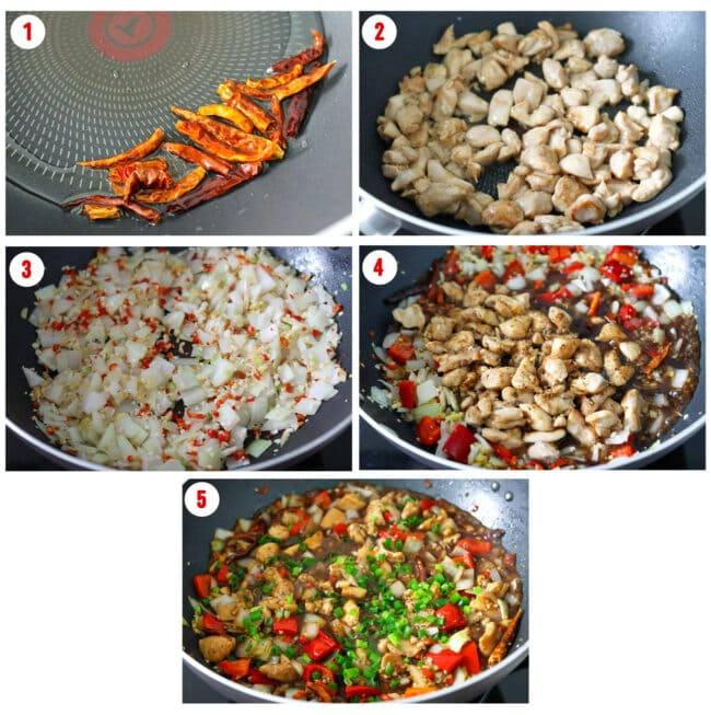 Process steps to make Spicy Pepper Chicken.
