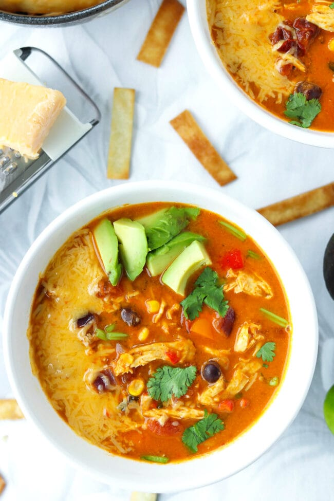 Close up of two bowls with soup topped with diced avocado, coriander, cheese and surrounded with tortilla strips.