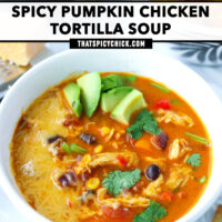 """Front view of two diagonally placed bowls with soup surrounded with tortilla strips. Text overlay """"Spicy Pumpkin Chicken Tortilla Soup"""" and """"thatspicychick.com""""."""