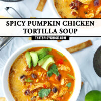 """Top view of two diagonally placed bowls of soup surrounded by crispy tortilla strips. Text overlay """"Spicy Pumpkin Chicken Tortilla Soup"""" and """"thatspicychick.com""""."""