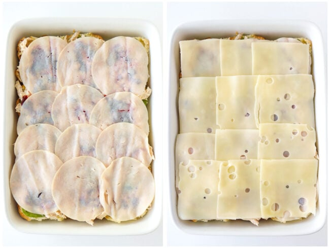 Assembling turkey and cheese layers for sliders in baking dish.