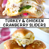 """Hand holding up a slider with a bite taken out, and three sliders stacked on a plate. Text overlay, """"Turkey & Chicken Cranberry Sliders""""."""
