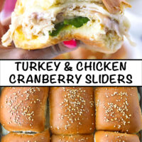 """Hand holding up a slider with a bite taken out, and close-up top view of baked sliders. Text overlay, """"Turkey & Chicken Cranberry Sliders""""."""