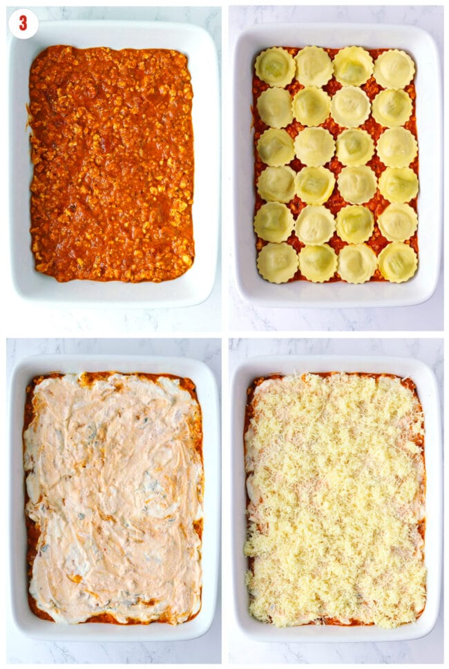 Process steps to layer meat sauce, ravioli, ricotta basil mixture, and grated cheese in large baking dish.