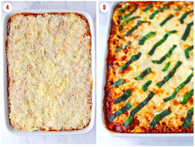 Unbaked and baked Buffalo Chicken Ravioli Lasagna in a 9x13-inch baking dish.