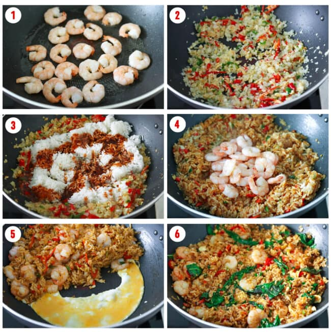 Process steps to make Thai Roasted Chili Fried Rice with Prawns.