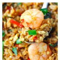 """Close up of spoon with fried rice and a prawn on a white plate. Text overlay """"Thai Roasted Chili Fried Rice with Prawns"""" and """"thatspicychick.com""""."""