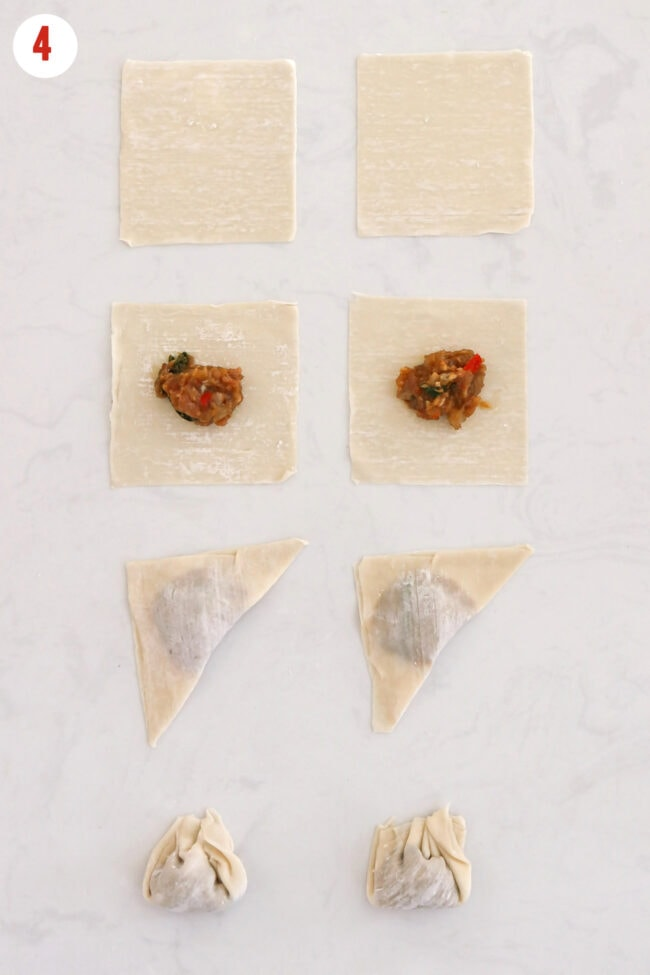 Steps to wrap wontons displayed on a countertop.