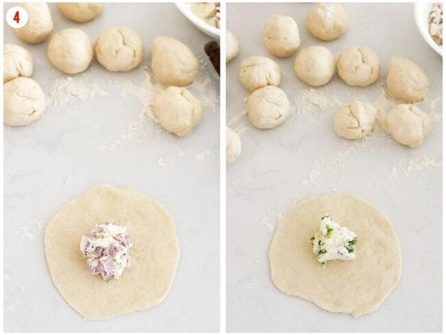 Adding fillings to dough circles, and dough balls behind.