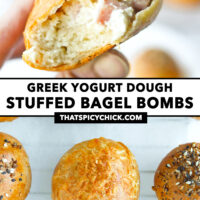 """Hand holding up a bitten into ham and cream cheese bagel bomb, and top view of bagel bombs on parchment paper. Text overlay """"Greek Yogurt Dough Stuffed Bagel Bombs"""" and """"thatspicychick.com""""."""