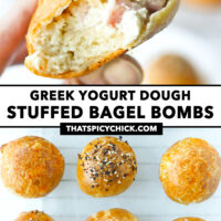 """Fingers holding up a bitten into ham and cream cheese bagel ball, and top view of bagel balls on parchment paper. Text overlay """"Greek Yogurt Dough Stuffed Bagel Bombs"""" and """"thatspicychick.com""""."""