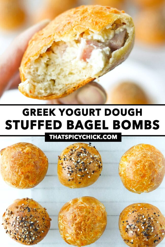 """Fingers holding up a bitten into ham and cream cheese stuffed bagel bomb, and top view of bagel balls on parchment paper. Text overlay """"Greek Yogurt Dough Stuffed Bagel Bombs"""" and """"thatspicychick.com""""."""