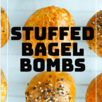 "Stuffed bagel bombs on parchment paper. Text overlay ""Stuffed Bagel Bombs""."