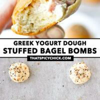 """Fingers holding up a bitten into ham and cream cheese bagel ball, and unbaked bagel balls on parchment paper. Text overlay """"Greek Yogurt Dough Stuffed Bagel Bombs"""" and """"thatspicychick.com""""."""