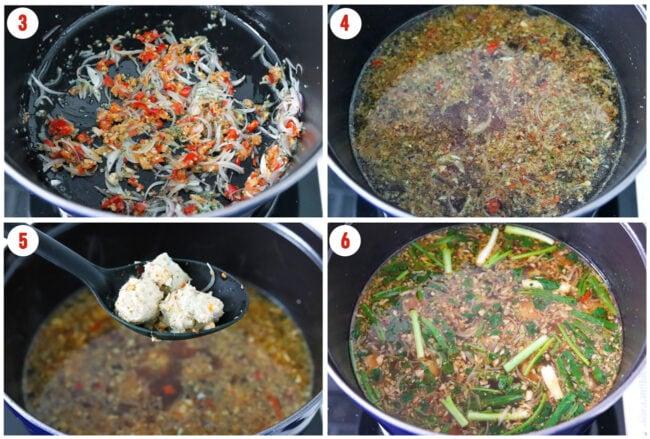 Process steps to make Thai Glass Noodle Soup.
