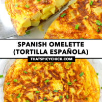 "Front view of a potato omelette wedge on a cake cutter, and top view on a plate. Text overlay ""Spanish Omelette (Tortilla Española) and ""thatspicychick.com""."