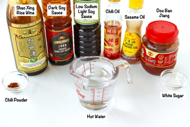 Labeled sauce and seasoning ingredients for Ants Climbing A Tree.
