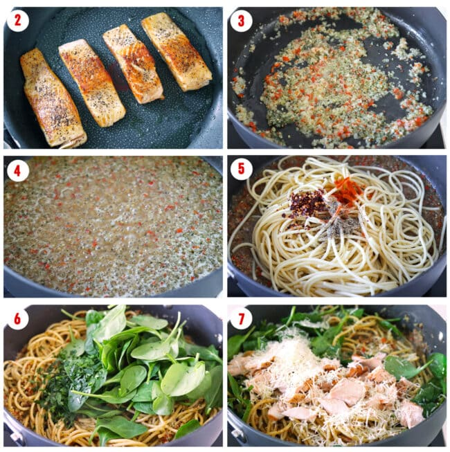 Process steps to make Salmon Pasta with Anchovy-Garlic Sauce.