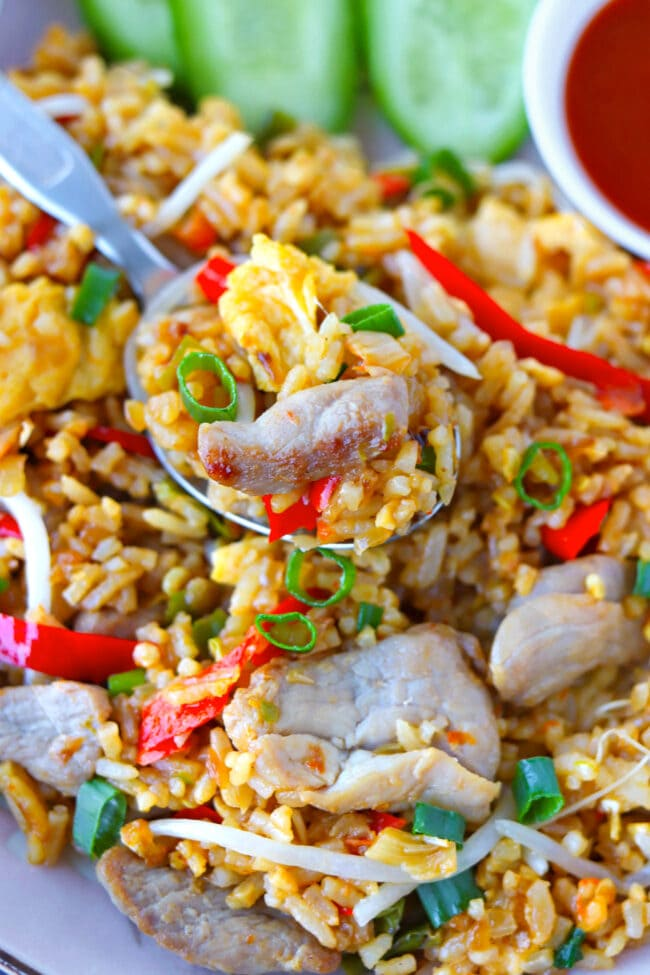 Close-up of pork fried rice on a spoon in a plate with fried rice.