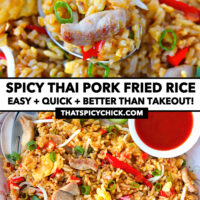 """Close-up front view of fried rice on a spoon and top view on a plate. Text overlay """"Spicy Pork Fried Rice"""", """"Easy + Quick + Better Than Takeout!"""", and """"thatspicychick.com""""."""