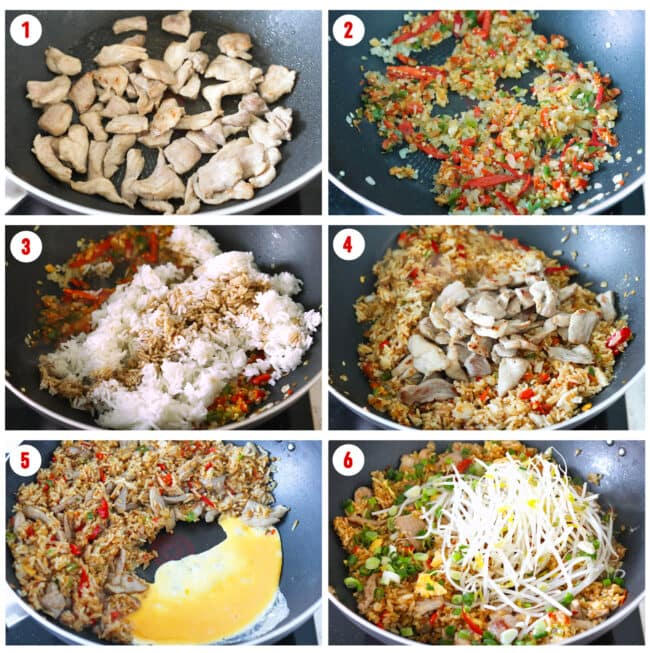 Process steps to make Spicy Thai Pork Fried Rice.