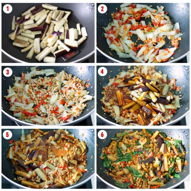 Process steps for Thai Eggplant Stir-fry.